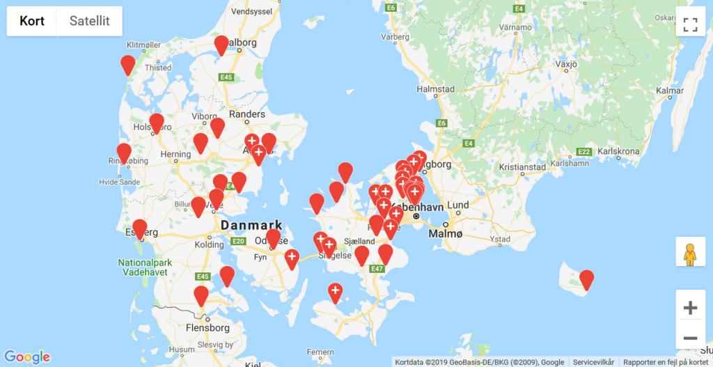 DVL's Danmarkskort har fået prikker af Vandrernes Dag. Kom med os udenfor! Foto Google Maps