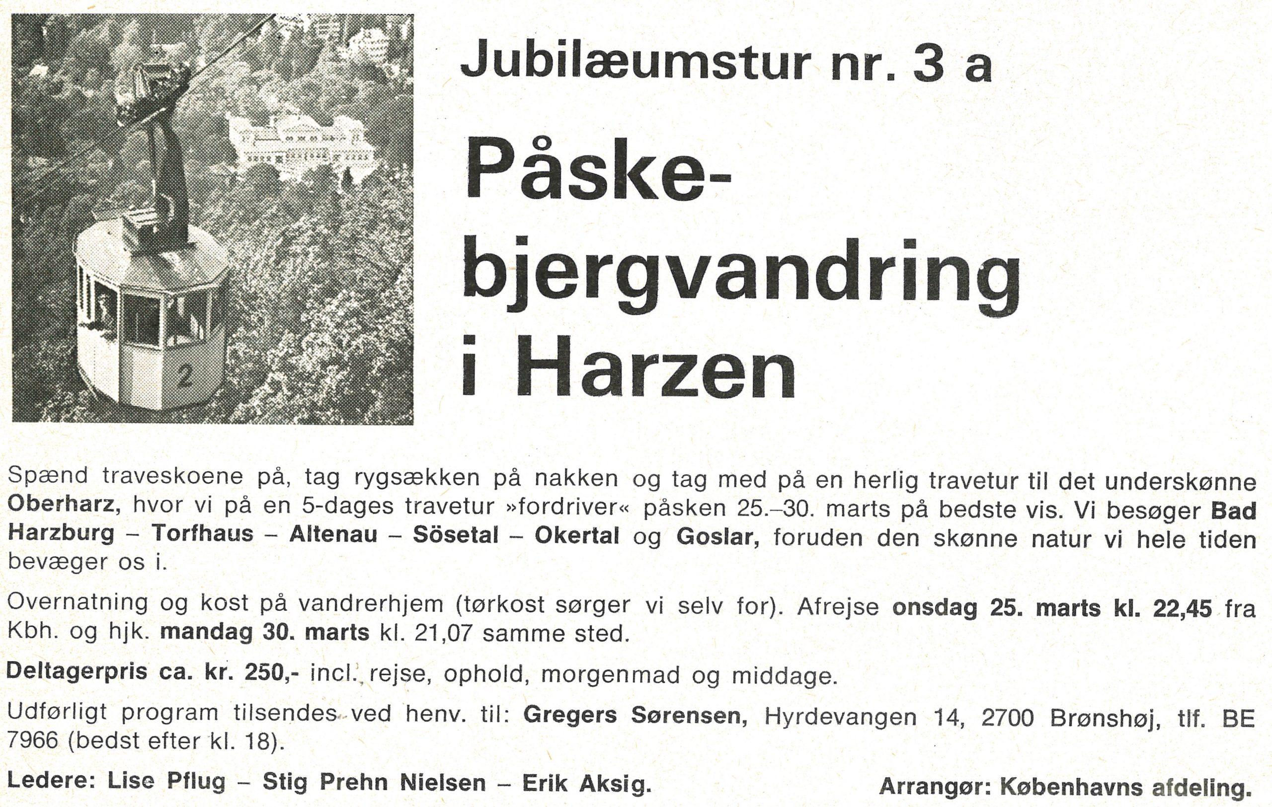 Påsketur til Harzen-annonce fra vores medlemsblad Fritidsliv 1970.